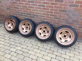 Extreme Offset 5SP's 4x100 16x8j et0 with new tyres all round.