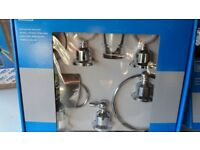 Bathroom set 5 piece chrome (unused, still boxed and cost £50).