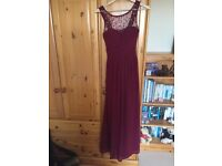 3 x burgundy bridesmaid dresses (size 6,10,12)