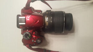 Nikon red d3200 with lens 18-55 mm