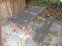 Garden bench tables