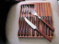 lovely teak handled steak forks and knives in a solid teak box