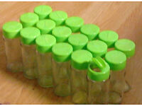 18 New Green Coloured Lid EMPTY Refillable Clear Glass Spices Herbs Jars Holders.