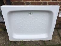 Porcelain shower tray. 100cm x80cm used once then carefully removed.