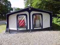 As New Bradcot Classic-870cm-Blue 2-4 Berth Caravan Awning + Free Curtains...Cost £755 New...