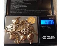 9ct Gold Charm Bracelet & Half Sovereign