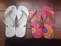 2 Pairs Women's Havaianas Flip Flops Size7-8