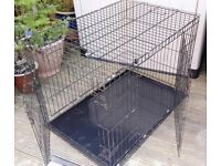 "EXTRA LARGE BLACK METAL FOLDING PET / DOG CAGE WITH METAL TRAY L.42"" x W. 28"" x H. 30"""