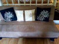 Sofa bed, tan suede effect material