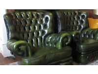 Superb Pair Green Leather High Wing Back Button Back Chesterfield Monks Chairs VVGC