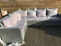 Stunning outdoor garden L shaped sofa grey rattan
