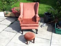 HIGH SEAT WING BACK CHAIR WITH FOOT STOOL.