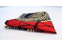 African Print Pocket Square - made in Uganda - Red