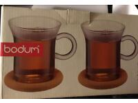 New boxed Bodum tea glass for two