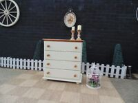 SOLID PINE FARMHOUSE CHEST OF DRAWERS PAINTED IN CREAM COLOUR FROM LAURA ASHLEY