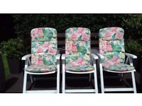 Garden Chairs with cushions 3 seat settings