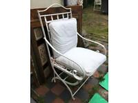 Large folding heavy white metal garden chair