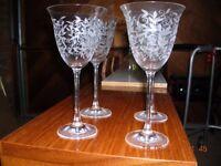 Engraved wine glasses x 4
