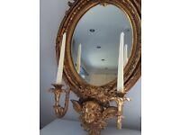 Vintage Brocante, Roccoco Baroque , Cherub Sconce mirror