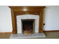 Solid Oak Fire surround with electric fire