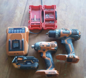 Impact and drill with charger and drill bits
