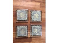 Craft Fusion Handmade Glass and Gold Coasters x 4