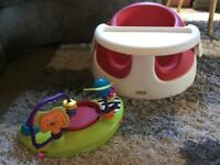 Mamas and Papas baby snug with play tray. Red, seat, bumbo