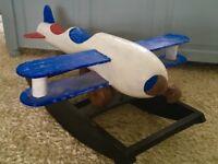 Child's wooden rocking aeroplane