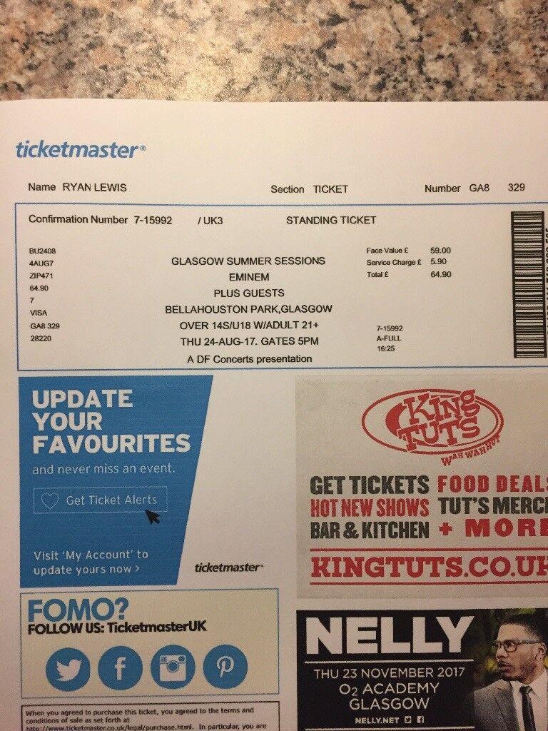 Printed Eminem tickets Glasgow | in Southside, Glasgow | Gumtree