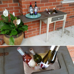 Beautiful upcycled singer sewer table! Bar cart/Plant holder/etc
