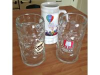 3 x 1 Litre Beer Glasses Steins