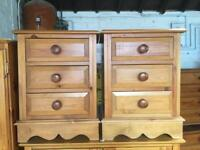 Pair of solid pine bedside cabinets