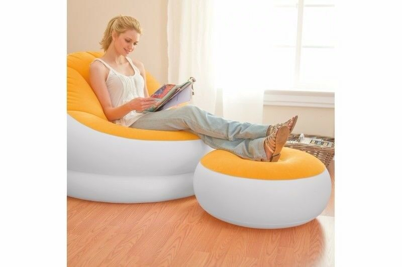 ***NEW CONDITION Very Comfortable Soft Inflatable Chair + Footstool/Compact + Foldable