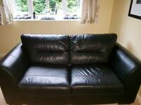 Sofa bed leather black brown