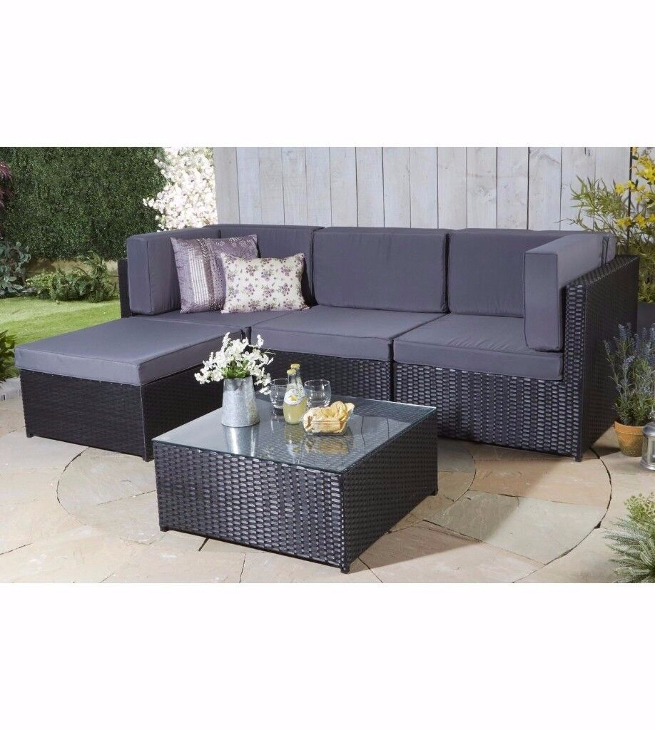 brand new kensington rattan effect corner lounge set corner sofa black with grey cushions in. Black Bedroom Furniture Sets. Home Design Ideas
