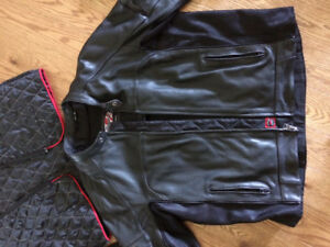 Leather motorcycle jacket men's 2XL
