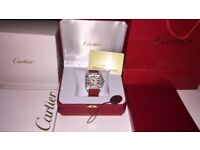 MENS CARTIER SANTOS 100 ICED OUT DIAMOND WATCH WITH BOX PAPERS TAGS BAGS NEW