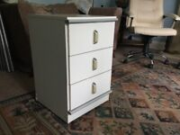 Bedside Cabinet with Three Drawers - Grey detail H25.5in/64cm W16in/41cm D17in/43cm