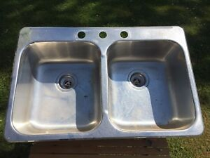Stainless Steel Double Sink and Taps