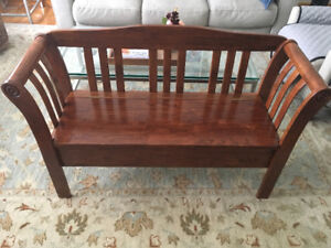 Solid Maple Wood Bench with Storage