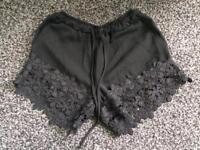 Black Flower Shorts Size 8