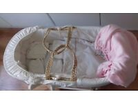 MOSES BASKET with waterproof mattress, 4 bed sheets and pink basket cover with stand
