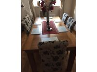 Solid Oak Dining Room Table & 6 Upholstered Chairs