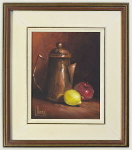 L. Pierre (20th Century) Signed Original Oil Painting Still Life