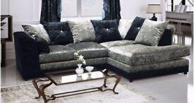 Italian Crush Velvet -- Brand New -- Byron Corner Sofa / 3 + 2 Seater Sofa -- Same Day Delivery