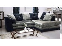 Italian Crush Velvet -- Brand New -- Byron Corner Sofa / 3 + 2 Seater Sofa -- Same Day Delivery