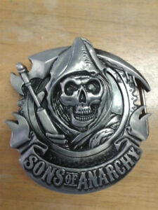 "2011 SOA Sons of Anarchy Reaper Crest 4"" X 4"" Metal Belt Buckle"