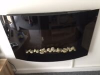 Electric fire curved black glass