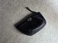 Fossil small toiletry or makeup black leather bag