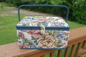 Large Size Tapestry Sewing Basket--Great Condition!